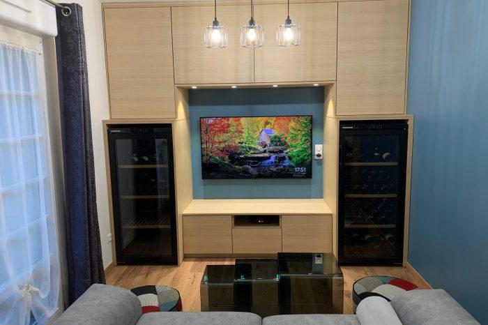 Meuble télé avec cave à vin